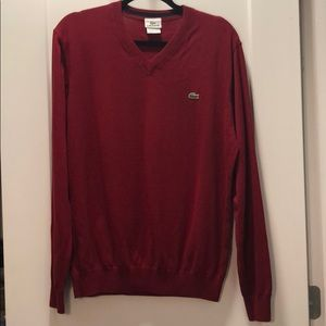Like new men's red Lacoste sweater